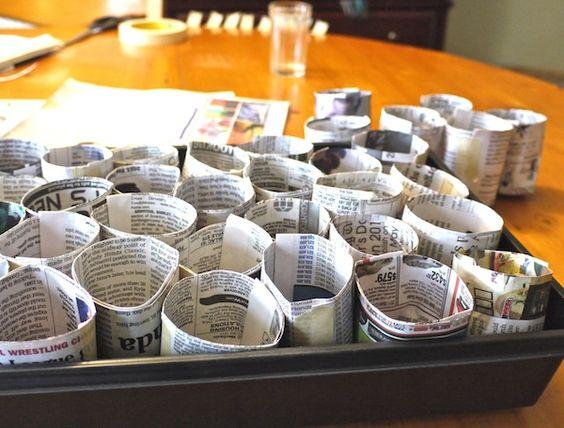 A magokat újságból hajtogatott formákba is vethetjük!